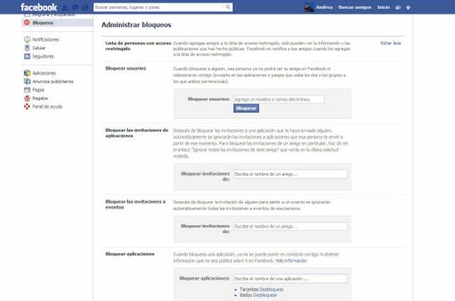 Facebook Bloqueo