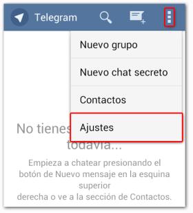 Telegram Acceso a Ajustes