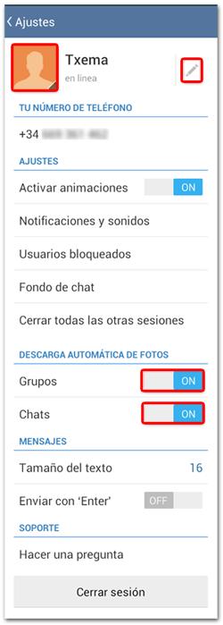 Telegram Configuracion de Ajustes