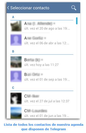 Telegram Ultima Vez Lista Todos los Contactos Con Telegram