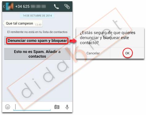 Llamadas WhatsApp Spam Desconocidos
