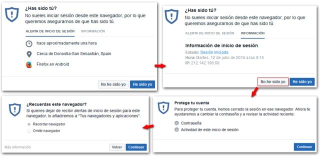 Facebook Seguridad Alerta Inicio Sesion