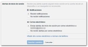 Facebook Seguridad Alertas Inicio Sesion