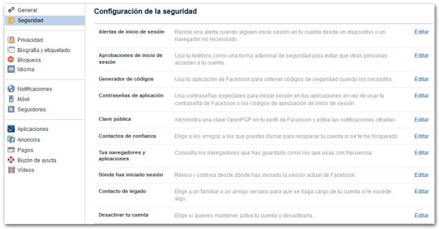 Facebook Seguridad Configuracion Seguridad