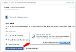 Facebook Seguridad Email Alerta