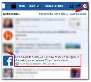 Facebook Seguridad Notificacion